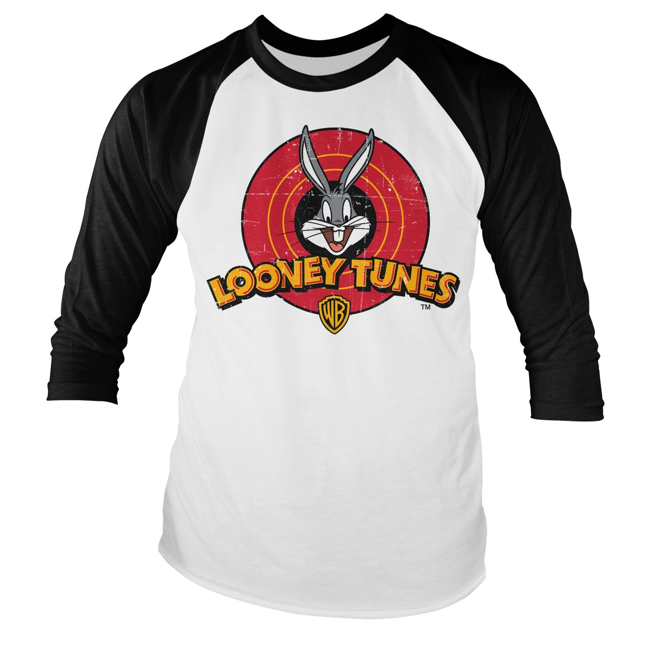 Looney Tunes Distressed Logo Baseball Long Sleeve Tee